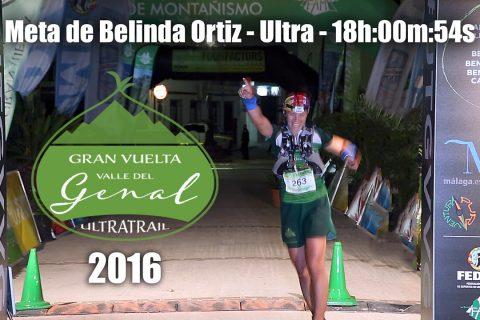Llegada a meta de Belinda Ortiz (Modalidad Ultra) – Gran Vuelta Valle del Genal 2016